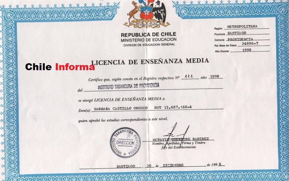 Certificado de licencia de enseñanza media