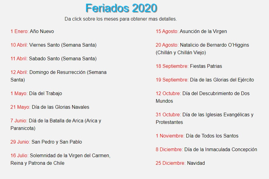 Feriados 2020