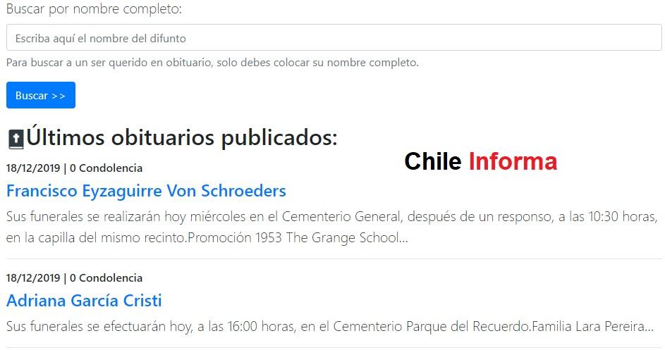 Lista de fallecidos en Chile