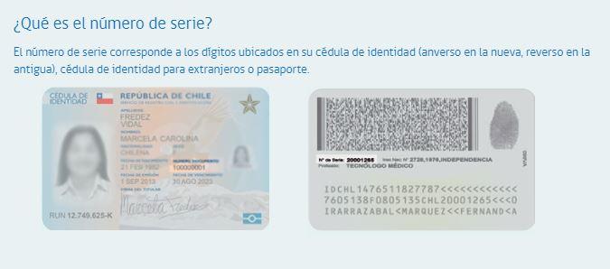 Numero de serie de carnet de identidad